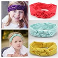 Nueva moda femenina accesorios hechos a mano de algodón elástico de la venda del pelo del bebé que hace punto del vendaje en una cabeza para las niñas cospeles