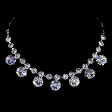 Silver Plated Classic Row Rhinestone Dazzle Clear White AAA Zircon Pendant Necklace Women Jewelry Figaro Chain Necklace collier