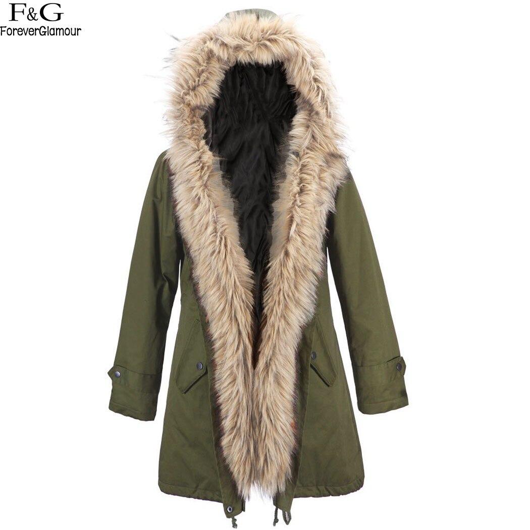 ФОТО FANALA Coat Women Autumn Winter Jacket Women's Large Solid Color Warm Faux Fur Collar Hooded Parka Coat Woman Outwear Overcoat