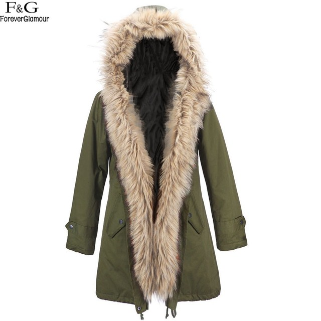 FANALA Coat Women Autumn Winter Jacket Women's Large Solid Color Warm Faux Fur Collar Hooded Parka Coat Woman Outwear Overcoat