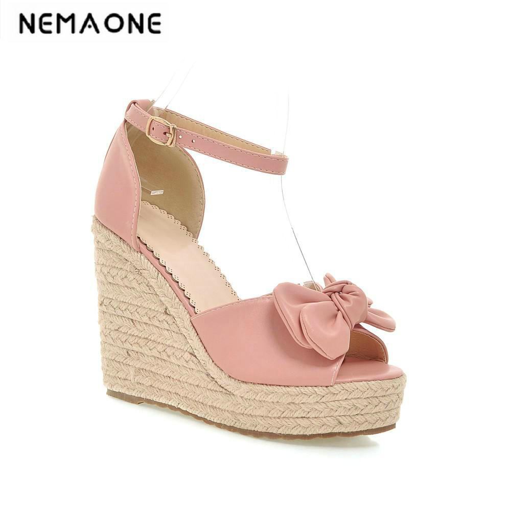 2018 new fashion Women wedge sandals platform shoes peep toe shoes Women shoes sweet bowtie summer sandals fashion peep toe and platform design sandals for women