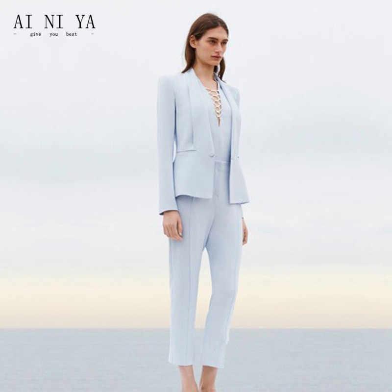 1a15ff56d12 Куртка + Брюки для девочек женские Бизнес костюм Небесно-Голубой женские  офисные форма дамы формальных