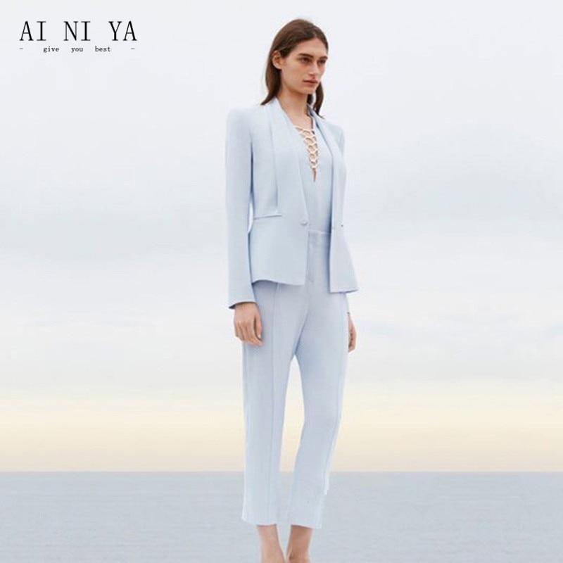 07f197b7bee38 US $89.1 10% OFF|Jacket+Pants Womens Business Suit Light Sky Blue Female  Office Uniform Ladies Formal Trouser 2 Piece Suits Evening Womens Tuxedo-in  ...