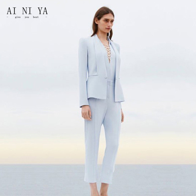 1a3f641dc60ff Jacket+Pants Womens Business Suit Light Sky Blue Female Office Uniform  Ladies Formal Trouser 2 Piece Suits Evening Womens Tuxedo