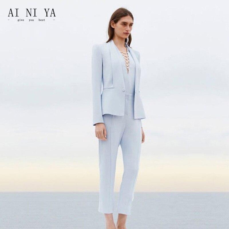 Jacket+Pants Womens Business Suit Light Sky Blue Female Office Uniform Ladies Formal Trouser 2 Piece Suits Evening Womens Tuxedo