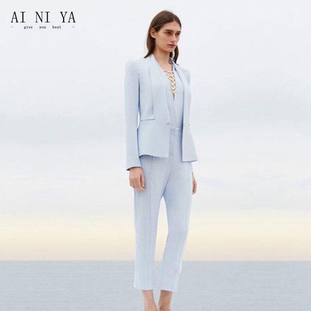 ecd2b44a7849c8 € 89.21 |Veste + pantalon femme d'affaires costume bleu ciel clair femme  bureau uniforme dames formel pantalon 2 pièce costumes soirée femmes ...