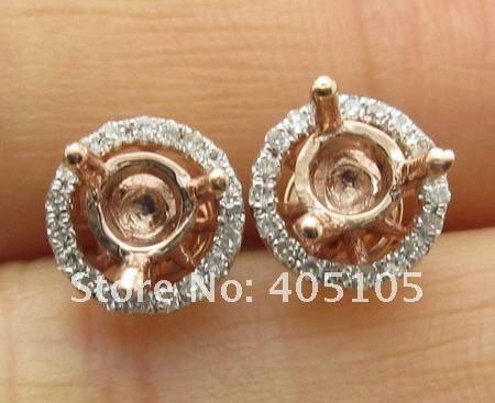 caimao ювелирные изделия 4.5 мм круг сцена 14 к роза золото и 0,22 карата Brilliant полу-или установка серьги