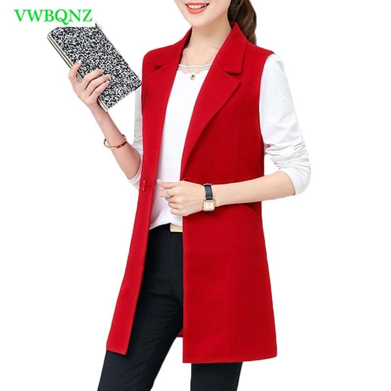 Image 2 - Spring Autumn Wild Female Vest Women Korean Long Slim Thin Sleeveless Suit Vests Women's Shoulder Plus size Jacket Coat 3XL A658-in Tank Tops from Women's Clothing