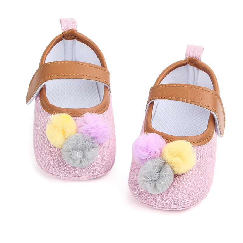 Newborn Baby Shoes Girls Cute Ball Baby Girl Shoes Classic Canvas Cotton Soft Sole Baby Girl First Walker Shoes