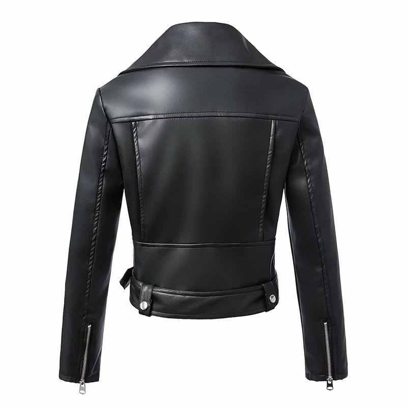 FTLZZ 2019 New Autumn Winter Fashion Women Black Faux Leather Jackets Zipper Basic Coat Turn-down Collar Biker Jacket With Blet
