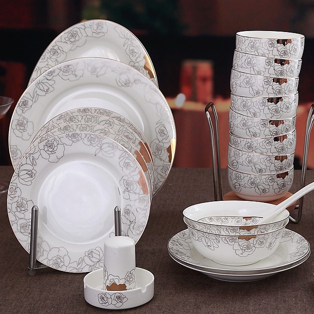 48 piece set golden striped designed rose blossom fine bone china dinnerware set ceramic restaurant flatware porcelain ware-in Dinnerware Sets from ... & 48 piece set golden striped designed rose blossom fine bone china ...