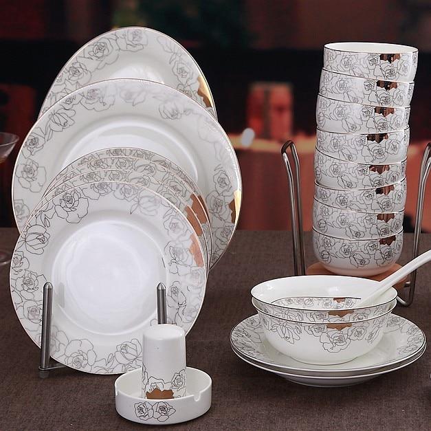 48 Piece Set Golden Striped Designed Rose Blossom Fine Bone China. Food Grade Cheap Restaurant Gold Dinnerware ... & Captivating Cheap Restaurant Dinnerware Ideas - Best Image Engine ...