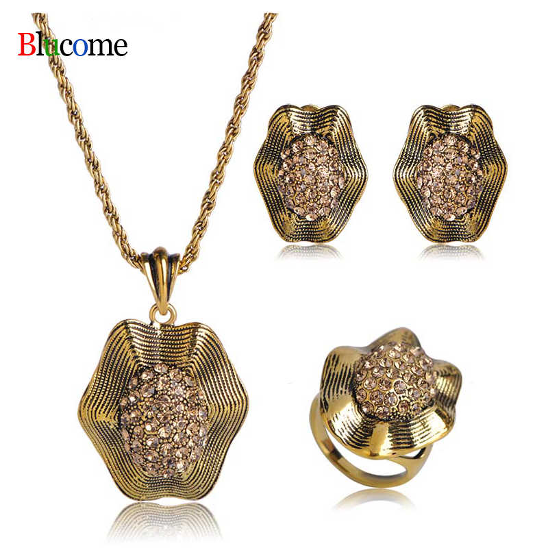 High Quality Vintage Antique Gold Crystal Flower Pendant Necklace Earring Ring Jewelry Set girl Banquet Party Accessories Gift