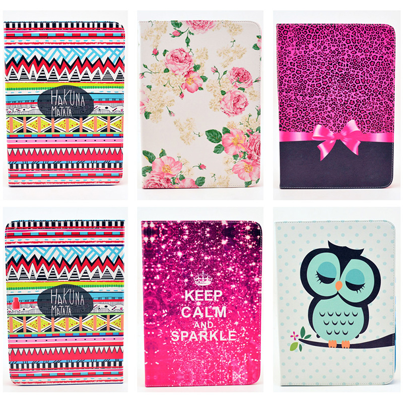 Fashion Bowtie Rose Owl Pattern Wallet Flip PU Leather Back Cover For Samsung Galaxy Note 10.1 N8000 Case Tablet Shell Protector