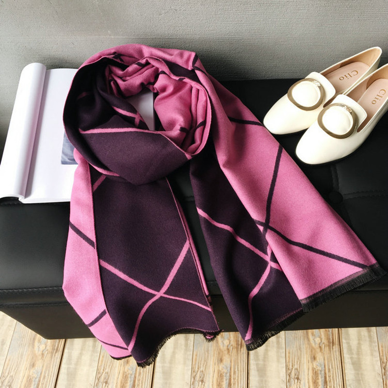 Autumn winter scarf high quality new diamond-shaped checked two-colored cashmere scarf with a thick warm shawl girl scarf women