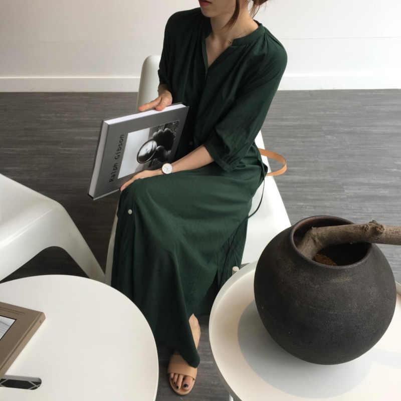LANMREM 2019 новые летние модные Повседневное свободная, с коротким рукавом подставка с воротником, женские ботинки до середины икры рубашка длинное платье EF425