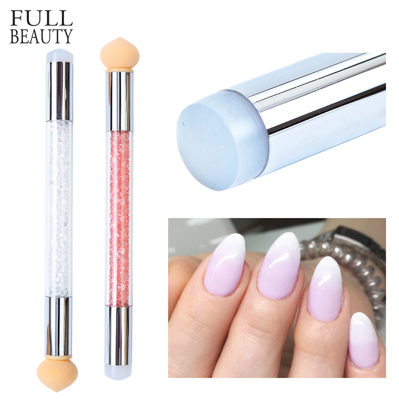 1 Set Gradient Stamping Design Nail Brush Gradient Shading Dotting Painting Pen Sponge Silicone UV Gel Manicure Tool 2 Way CHA15