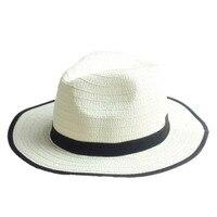 Groothandel 7 Stks/partij Zomer Kind Stro Fedora Hoeden Trilby Gangster Cap jongen meisje brede Rand Zonnehoed Kids Beach Panama hoed 15