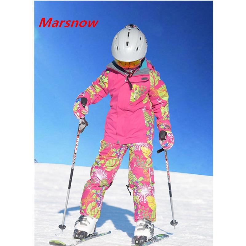 -30 Degree Marsnow Brand Winter Boy Girls Skiing Suits Set Snowboarding Suits Children Sport Ski Suit Collar Zipper Girl Outwear