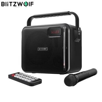 BlitzWolf bluetooth Party Karaoke Speaker V4.1 20W 3600mAh AUX in USB FM Mode Portable Wireless Microphone Remote Speaker