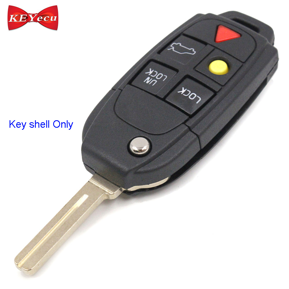 KEYECU for Volvo S60 S80 V70 XC70 XC90 Replacement Flip Remote Control Car Key Shell Case Fob Housing CoverKEYECU for Volvo S60 S80 V70 XC70 XC90 Replacement Flip Remote Control Car Key Shell Case Fob Housing Cover