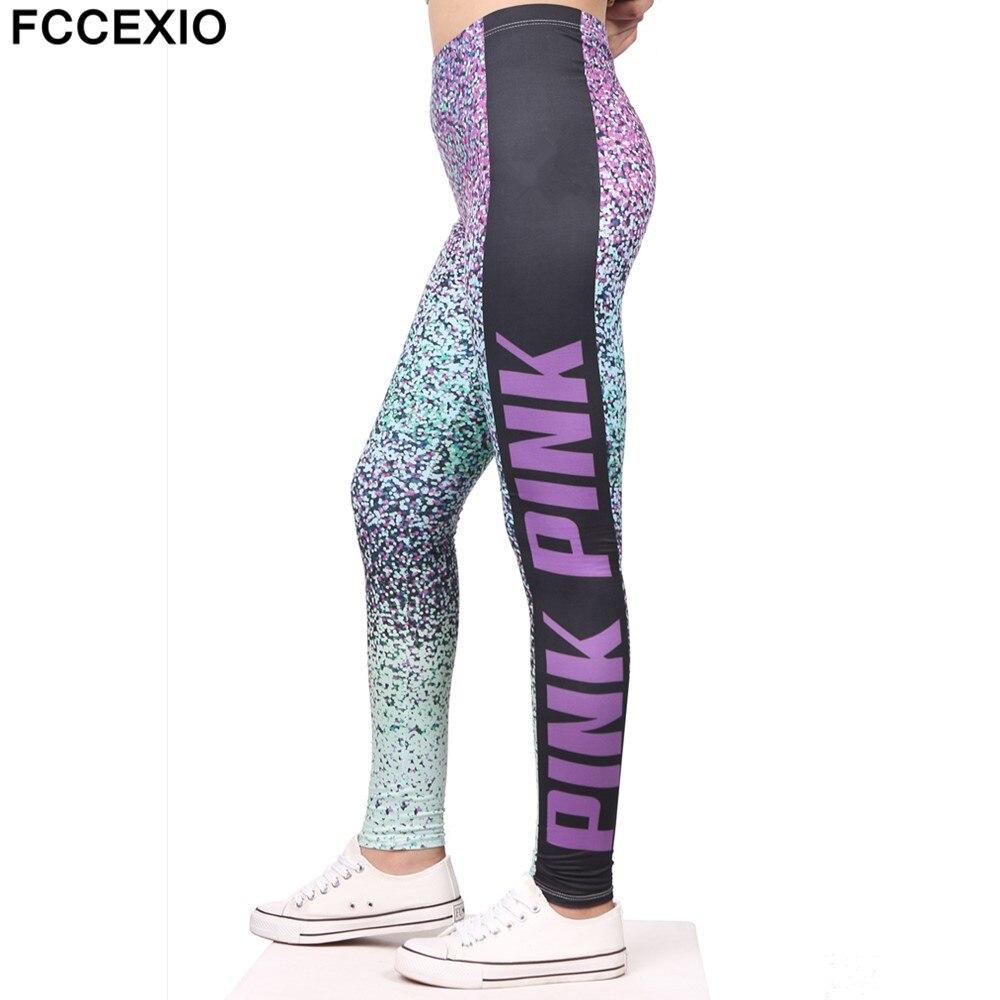 FCCEXIO Spring Leggings PINK Letter Print Fitness Legging High Stretch Leggins High Waist Slim Sexy Legins Trouser Women Pants