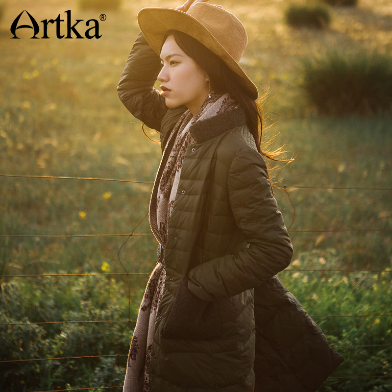 ARTKA 2018 Autumn Winter Long White Duck 90 Light Thin Spliced Down Coat Parka with Button