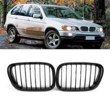 Grille Mesh For BMW X5 E53 3.0 4.4 4.6 4.8 1999-2003 Pair Front Wide Kidney Grille Grill Gloss Black Kidney Grille Front Bumper