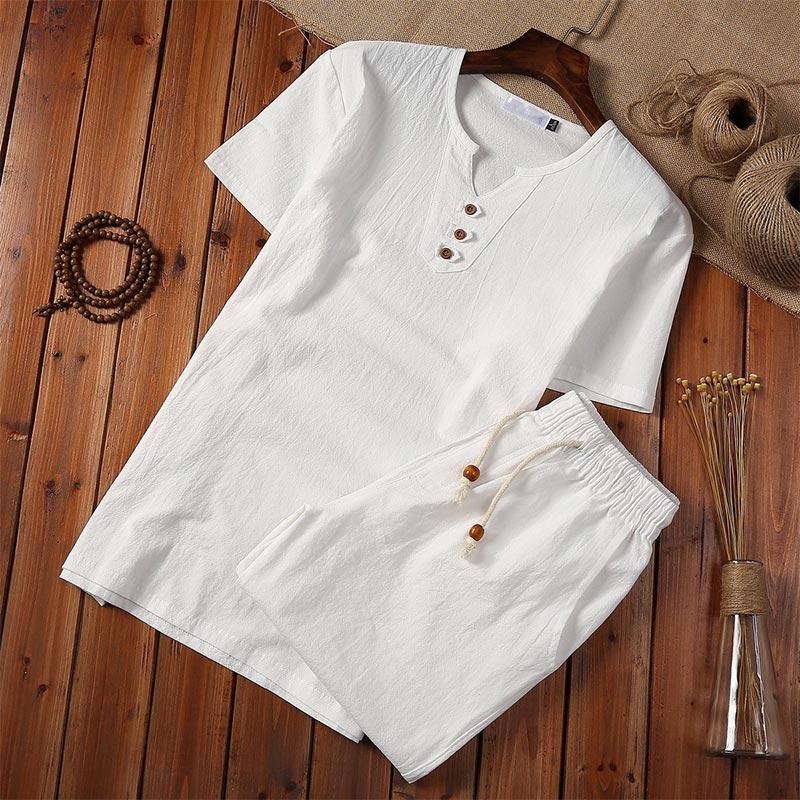 Cotton Linen Chinese Style Men Suit White Blouse Shorts Set Short Sleeve Pullover Button Shirts Plus 5XL 2020 Summer Men Casual