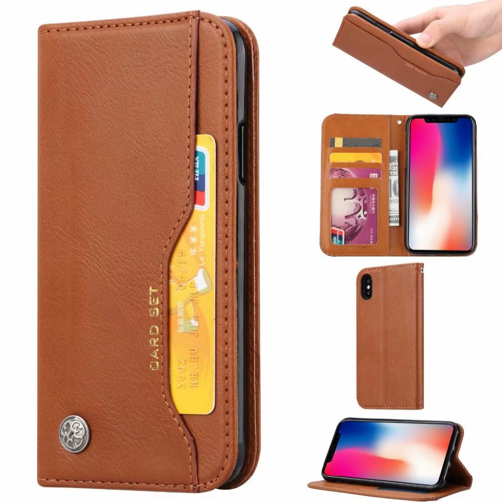 For iPhone XS Max XR Cover UYFRATE Retro Vintage PU Leather Card Slots Wallet Case For iPhone XS Max XR XS X 8 8 Plus 7 6S 6Plus