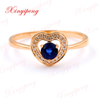 Xin yi peng 18 k rose gold inlaid natural sapphire ring female ring with diamond 4 * 4 contracted style
