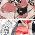 IMC Watermelon Red Stylish Chain and Leopard Pattern Color Splice Chiffon Scarf For Women