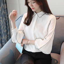 New Style Korean Fashion Women Turn-down Collar Lantern Sleeve Chiffon Blouses Shirts