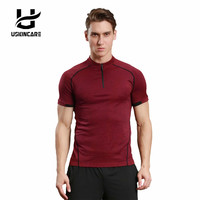 USKINCARE Fitness Workout Top Running T Shirt Men Sports Loose Style Elastic Breathable Clothing Sportswear