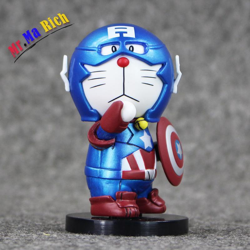 7.5cm Doraemon Captain America Pvc Action Figure Toys Collection Model Doll Mini Toy Gifts