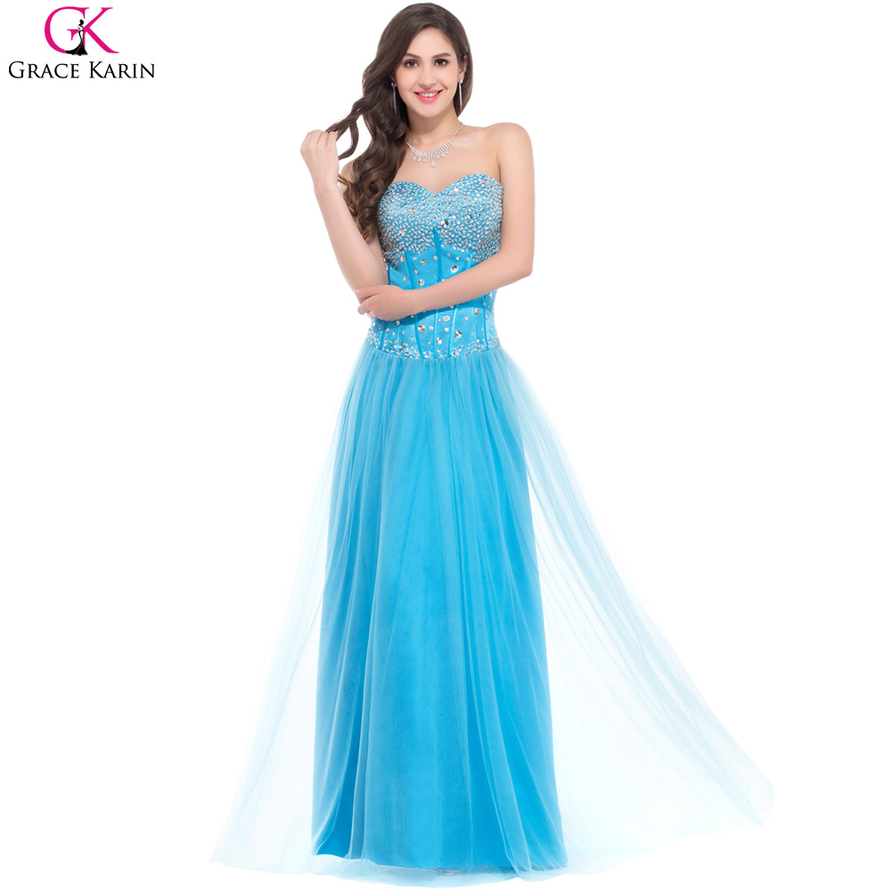 Grace Karin Royal Blue Pink White Long Evening Dress 2017 Luxury ...