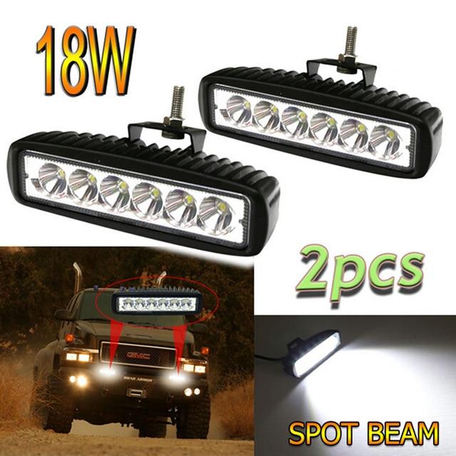 PAIR 6INCH 18W SINGLE ROW LED LIGHT BAR OFF ROAD BOAT TRUCK ATV 4x4 LED DRIVING LIGHT