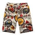 Verano Estilo de Impresión Flor Clásica Grphic Diseño Pantalones Cortos de Lino Transpirable de Secado Rápido Para Hombre Shorts Casual Playa Pantalones Cortos Bañadores