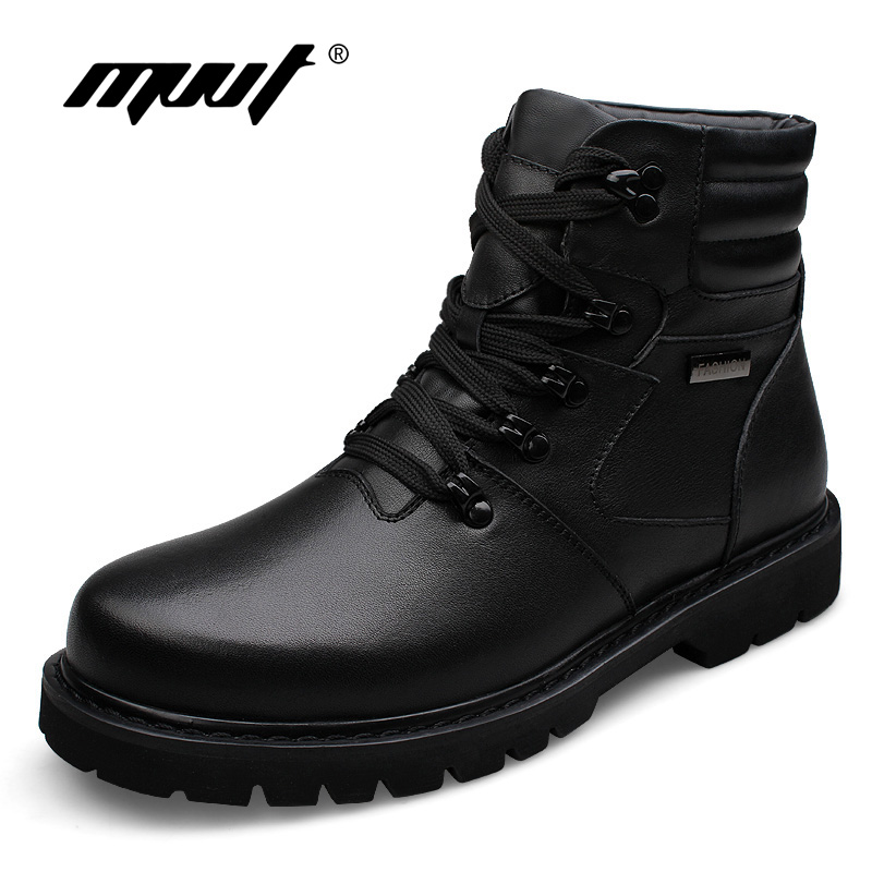 цены  Handmade Genuine leather men martin boots Rabbit fur plus size full grain leather Super warm men winter shoes for Russian