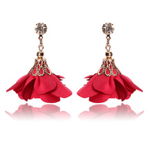 2018 Fashion Crystal Fabric Rose Flower Earrings Jewerly brincos borla Red Tassel Drop Dangle