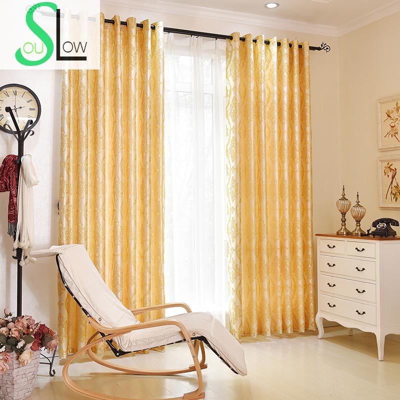 Slow Soul Golden Modern Simple Jacquard Curtains Cortinas