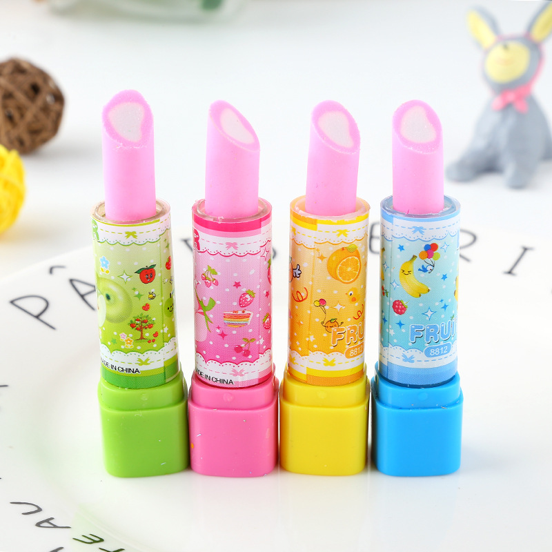 36pc/lot Creative Cartoon Lipstick Rubber Eraser/cute Erasers/ Stationery For Children Students/gift Toy Eraser