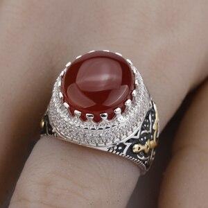 Image 5 - Мужское кольцо, Настоящее серебро 925 пробы, красный камень с двойным мечом, чистое CZ Кольцо на палец для мужчин, модные ювелирные изделия