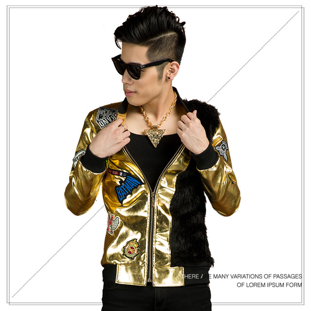 golden fashion jacket outfit coat prom rock dj singer costume sequined bar stage DJ JAZZ show dancer star nightclub performance