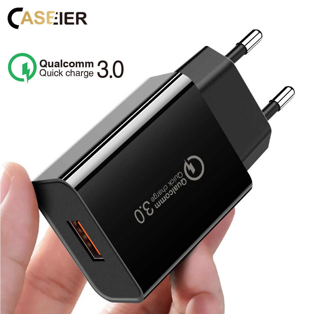 CASEIER QC 3.0 Universal Fast Charger EU Plug USB Charging Charger Quick Charge Adaptor cargador enchufe usb Charger chargeur