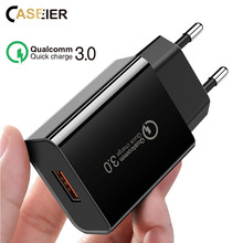 CASEIER QC 3.0 Universal Fast Charger EU Plug USB Charging Quick Charge Adaptor cargador enchufe usb chargeur