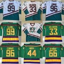 2a82c1859 Charlie Conway Mighty Ducks Hockey Jersey 33 Greg Goldberg 66 Gordon Bombay  99 Banks 44 Reed