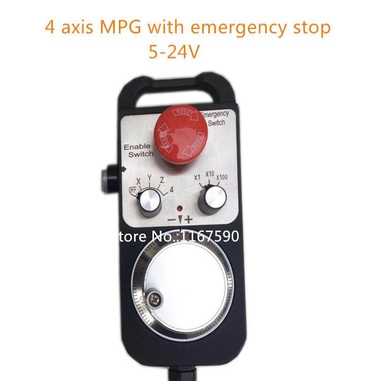 Best price 4 Axis Pendant Handwheel with Emergency Stop,manual pulse generator MPG for Siemens, MITSUBISHI, FANUC etc best price universal cnc 4 axis mpg pendant handwheel