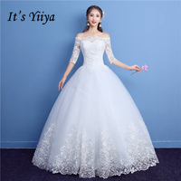 It S YiiYa Off White Sleeveless Boat Neck Sales Wedding Gown Embroidery Plus Size Quality Lace