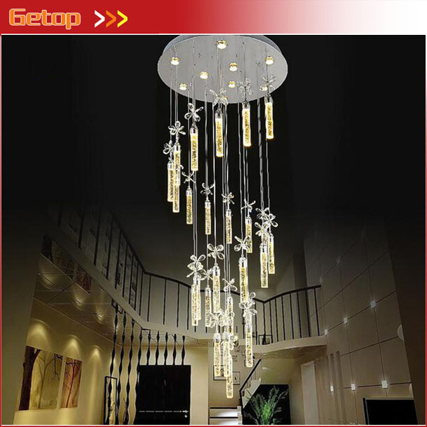 Crystal Bubble Column Stair Pendant Lights Rotating Hanging Lights Villas Duplex Stairs Lights Compound Rotation Crystal Lights